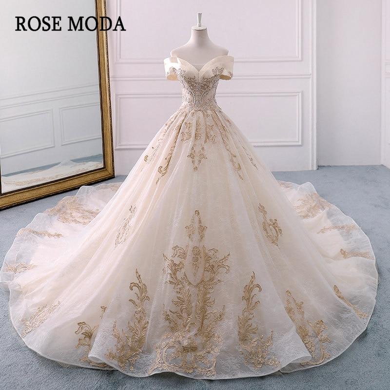Vestido de novia de encaje real de Moda rosa, vestido de fiesta largo con hombros descubiertos de princesa champán Iglesia