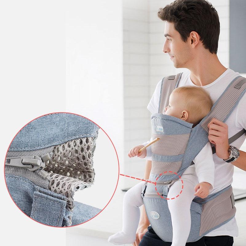 Portabebés transpirable y ergonómico frontal para bebé, taburete de cintura para bebé, asiento de bebé, canguro, portabebés de 0 a 36 meses, 25KG