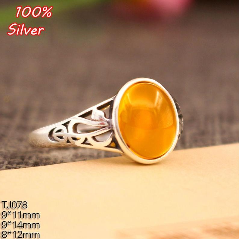 8*12/9*11mm 925 prata esterlina cor anéis definir com base de cabochão oval para mulher artesanal jóias ajuste anel em branco presente