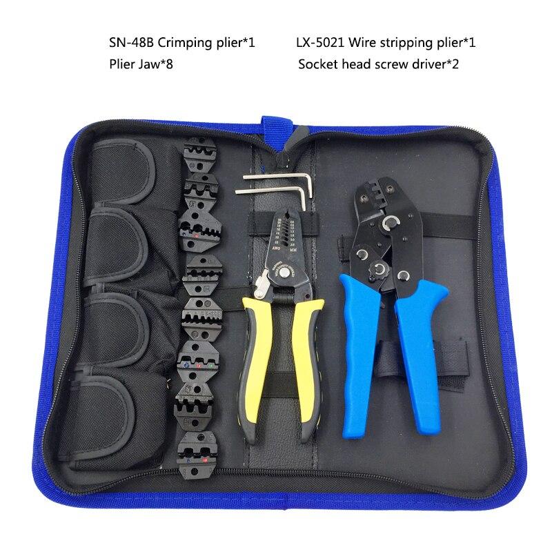 Juego de Herramientas alicates de engaste Alicates Pelacables y 8 mandíbula 02C/06WF/16WF/06/11011/02W2C/0325/0725 para varios terminales kit de herramientas