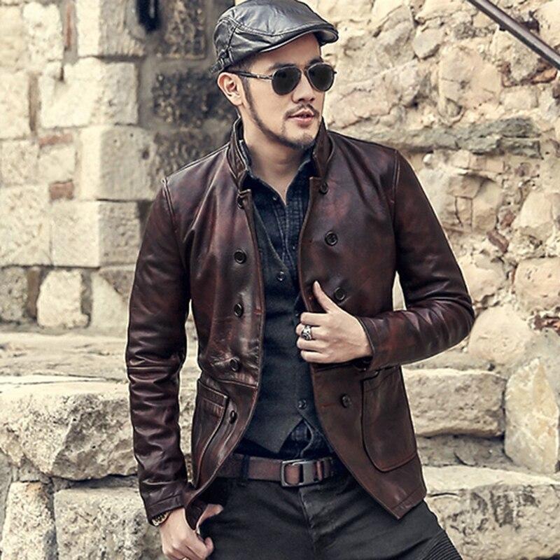 Chaqueta de piel de oveja de cuero genuino de doble botonadura de color rojo oscuro antiguo vintage para hombre chaqueta de piel de oveja metrosexual casual de moda delgada para invierno