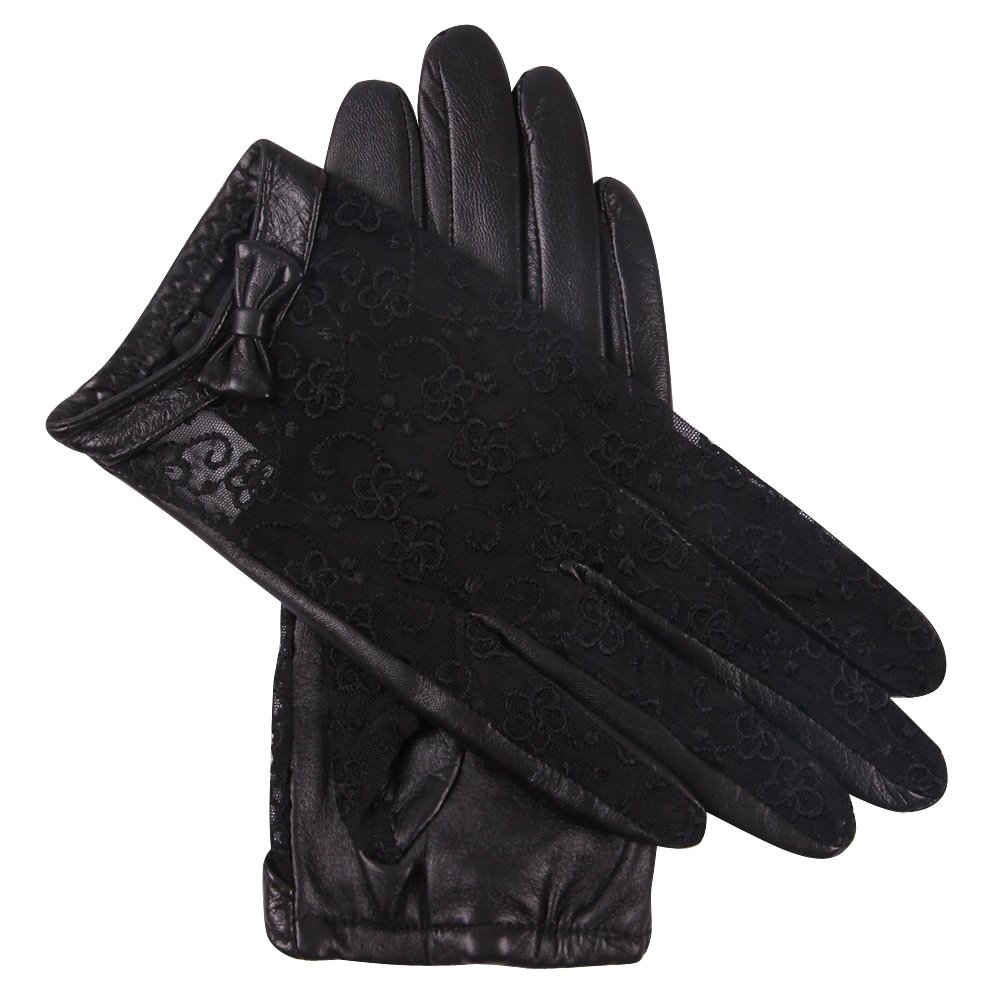 Genuien Leather Woman Gloves Spring Autumn Driving Black Lace Sheepskin Gloves Female Thin Style Unlined Touchscreen L17015-9 man s real leather gloves thin spring autumn driving sheepskin gloves male unlined fashion simple free shipping te0625a
