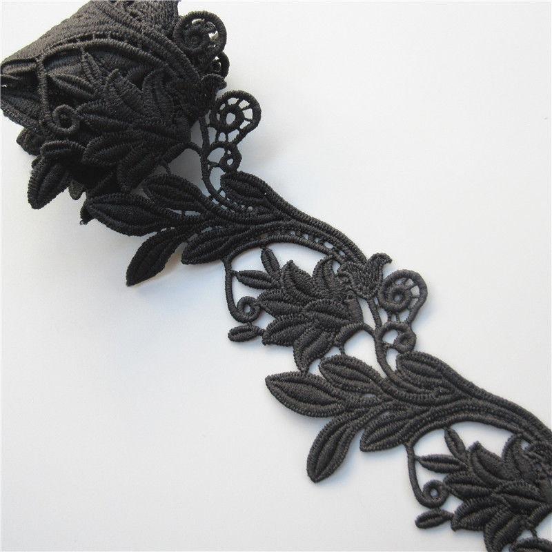 Винтажная черная хлопковая лента с цветочной вышивкой и кружевной кромкой, 1 ярд, аппликационные швейные принадлежности, украшения для рукоделия