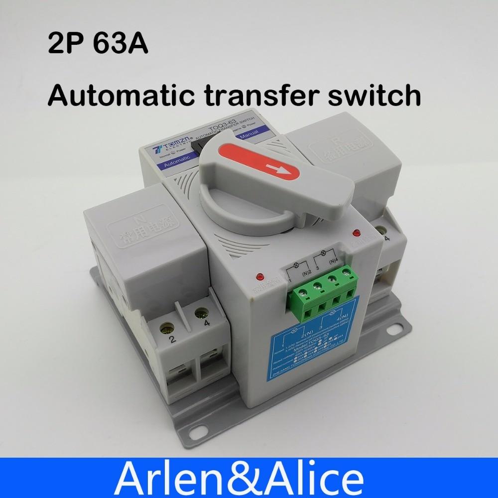 Автоматический переключатель передачи, 2P 63A 230V MCB тип