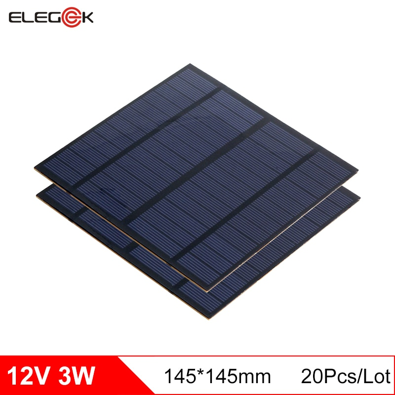 Elegeek 20 pçs/lote 3 w 12 v mini painel de célula solar policristalino pet painel solar para teste e sistema solar diy 145*145mm