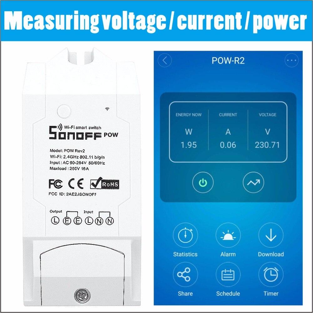 Sonoff POW/POW-R2 Módulo de automatización inteligente inalámbrico interruptor WiFi domótica inteligente Medición de consumo de energía remota