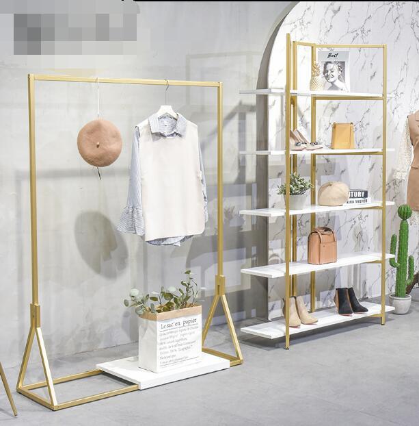 Clothing display rack gold wrought iron floor bag shelf rack women's clothing store side jewelry rack white shoe rack.