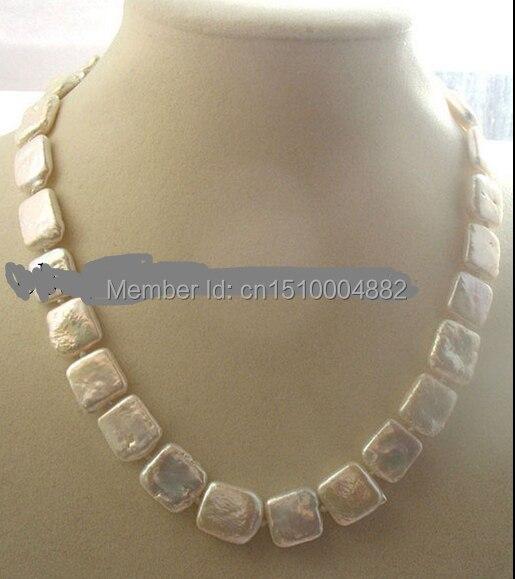 Shitou 0079 WOW! perlas de agua dulce blanco collar cuadrado