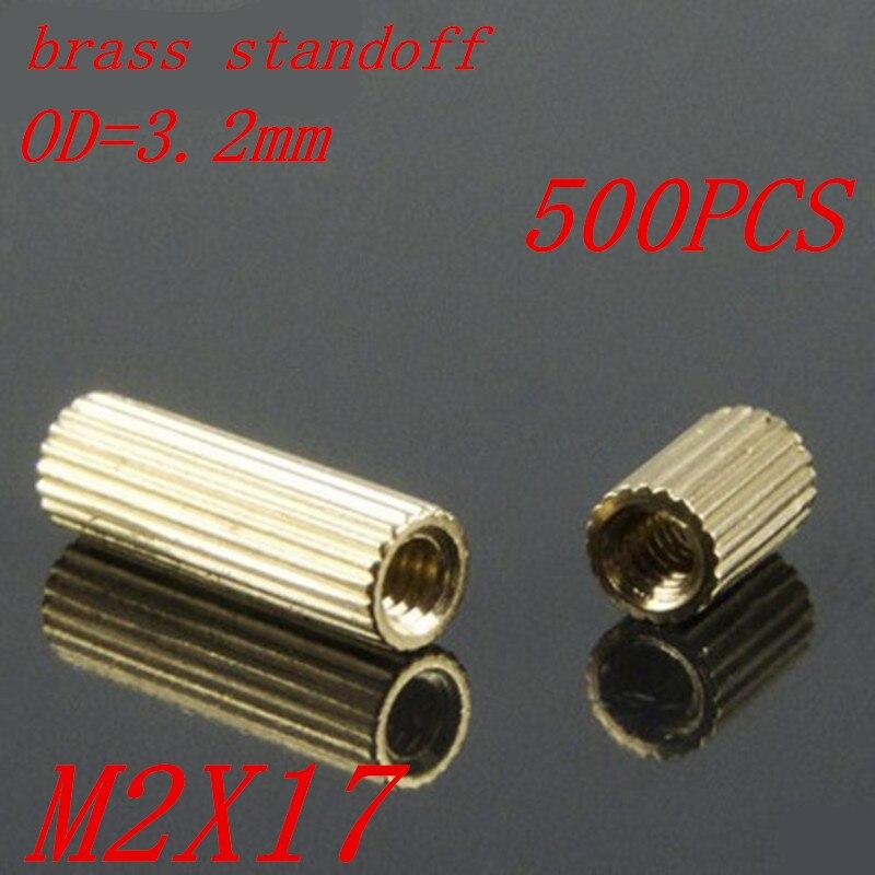 500pcs M2 x 17 M2*17mm brass standoff round spacer female to female thread