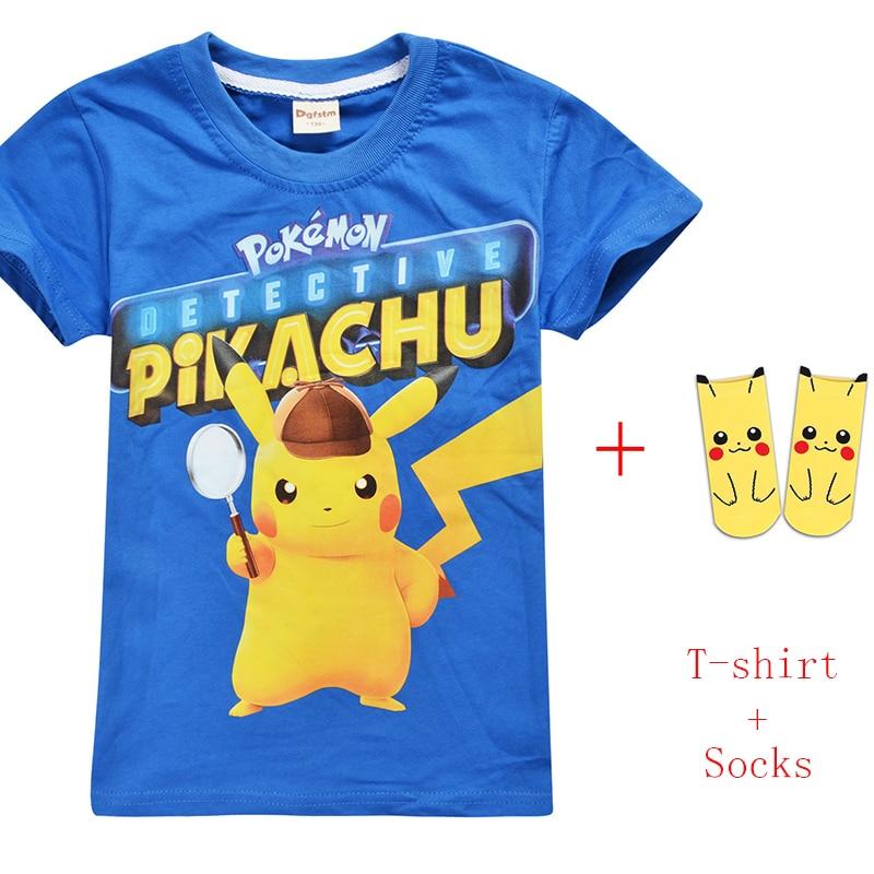 Camiseta pokemon go pikachu infantil, camiseta de algodão para meninos e meninas, roupa de verão, 2019, venda imperdível meias,