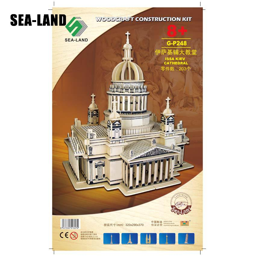 3d Wooden Puzzle Children's And Adult Model The Issa Kiev Cathedral Kids Toy Of The Famous Building Series A Best Gift For Kids