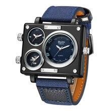 Mens Watches Top Brand Luxury Oulm 3595 Unique Designer Watches Men Fashion Square Big Face 3 Time Zone Casual Quartz Watch