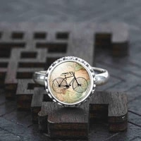 vintage bicycle map glass cabochon real solid 925 sterling silver ring fashion silver color jewelry glass statement ring