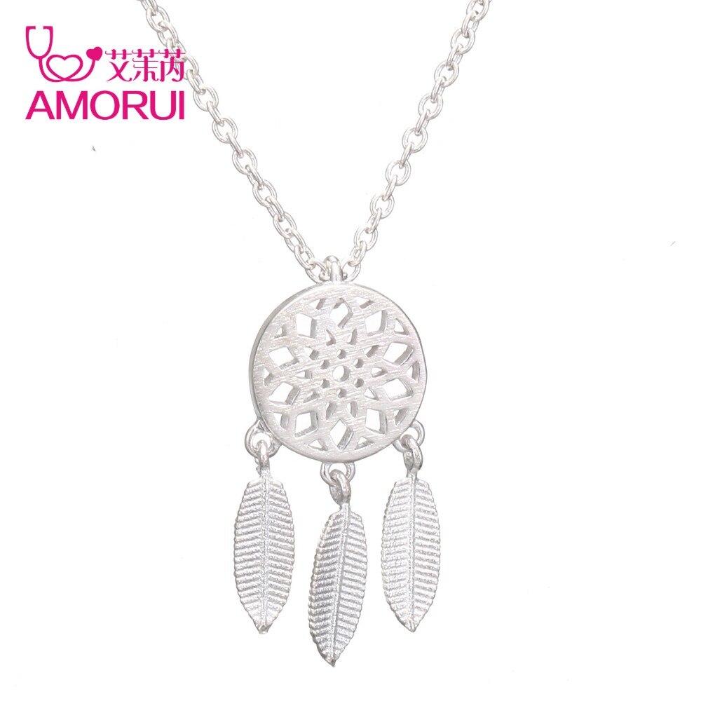 Женское Ожерелье с кулоном AMORUI, модное серебристого цвета в стиле Ловца снов, ожерелье в винтажном стиле