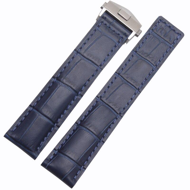 Nouveauté bracelet de montre bleu Bracelets 20mm 22mm bracelet de montre en cuir véritable avec déploiement fermoir en acier cuir de vachette