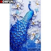 HOMFUN     peinture diamant  paon   perceuse carree ou ronde 5D  bricolage  broderie  point de croix  decor de maison  A07701