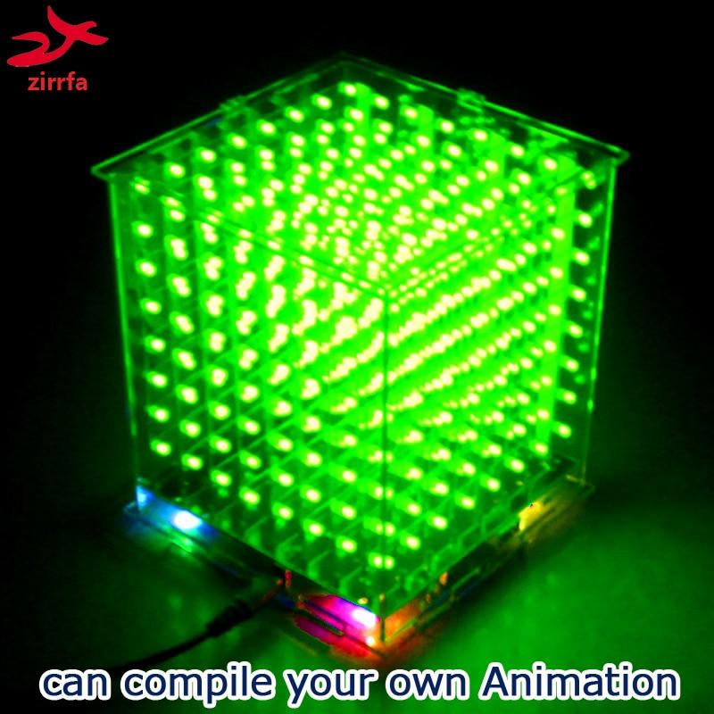 DIY 3D8 mini Cubeeds KIT con luz LED DIY con excelentes animaciones/3D verde 8 8x8x8 Kit, pantalla 3D, soporte Aidrno
