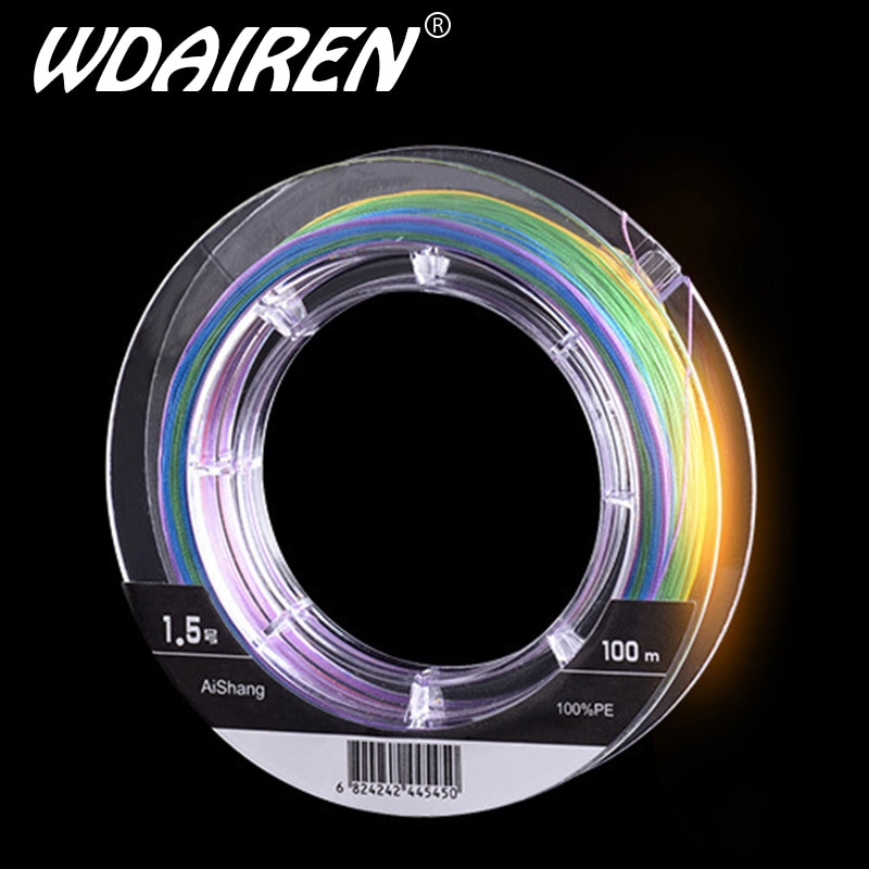 WDAIREN Super Braided Fishing Line LiuCai Series 8 Strands 100m PE 5 Colors One Color Per Meter Fishing Wire Rope Weaving