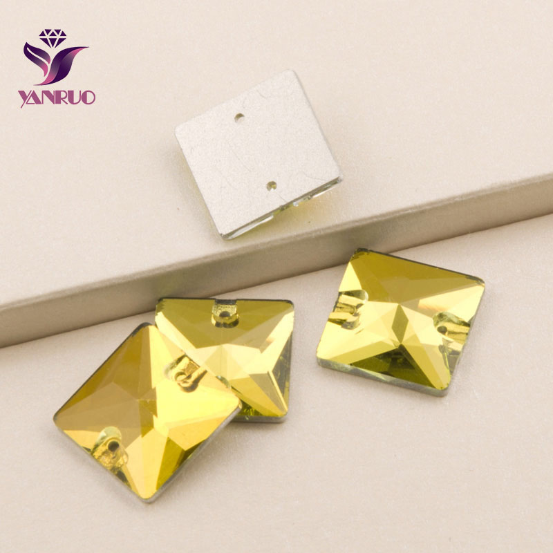 YANRUO 3240, Topacio claro cuadrado, piedras para coser con diamantes de imitación, piedras para coser de cristal amarillo y piedras de cristal para ropa