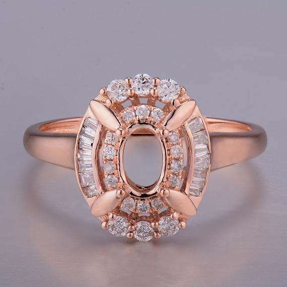 Montajes de anillo de lujo para piedras ovaladas 4x6mm 14K oro rosa para aniversario WP268