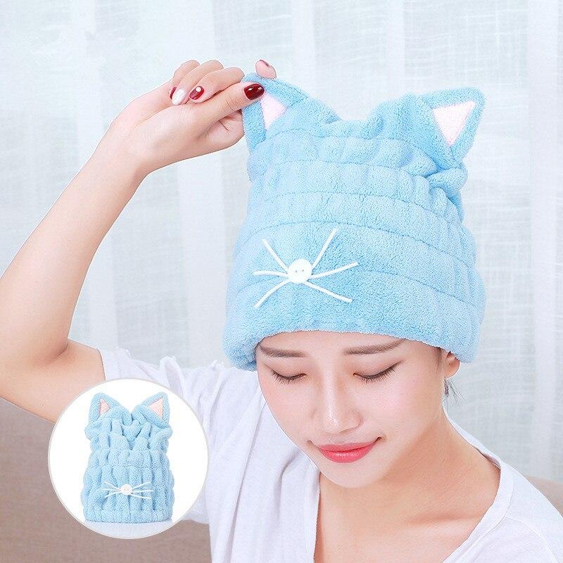 Precioso gorro de ducha con toalla de secado absorbente fuerte gorro para secar el pelo para mujer