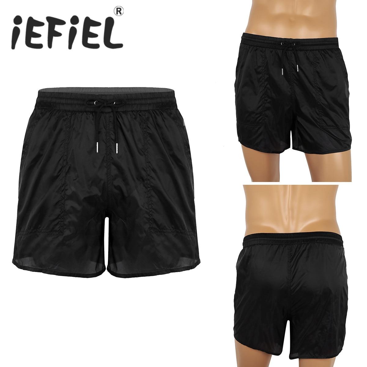 Masculino Mens Boxer Shorts Elastic Cintura See-Through Cordão Quick Dry Praia Shorts Swim Trunks com Bulit-em cuecas de malha Calças
