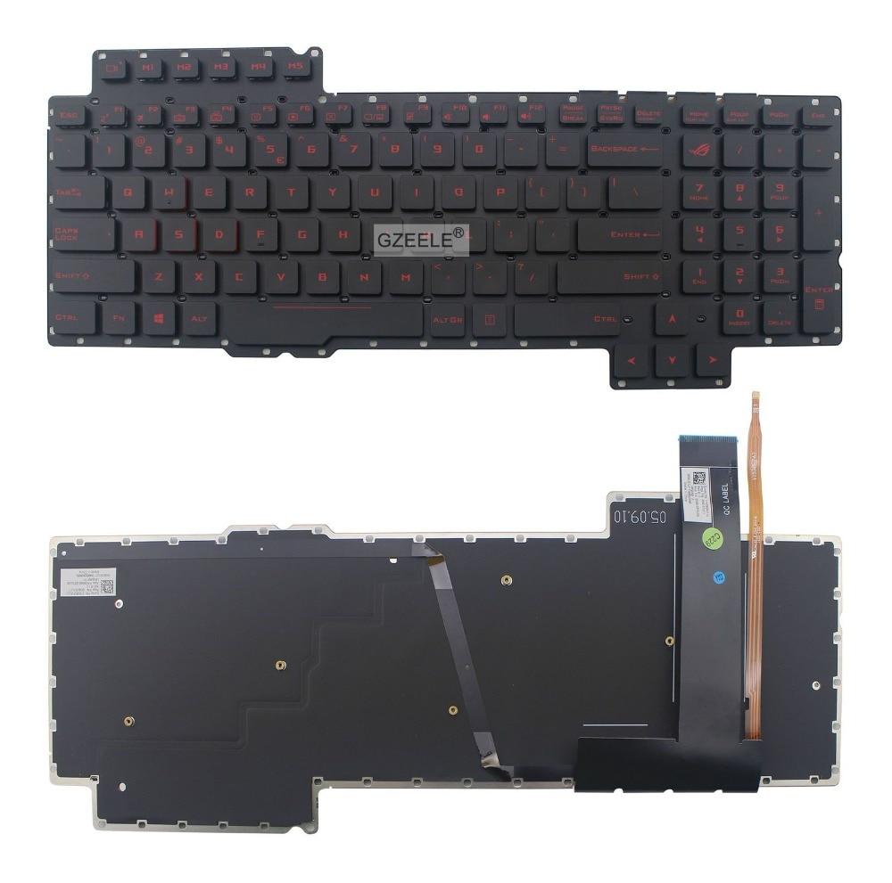 GZEELE الإنكليزية الخلفية لوحة المفاتيح ل ASUS ROG G752 G752V G752VL G752VM G752VS G752VT G752VY V153062AS1-US 0KN0-SI1US11 الخلفية