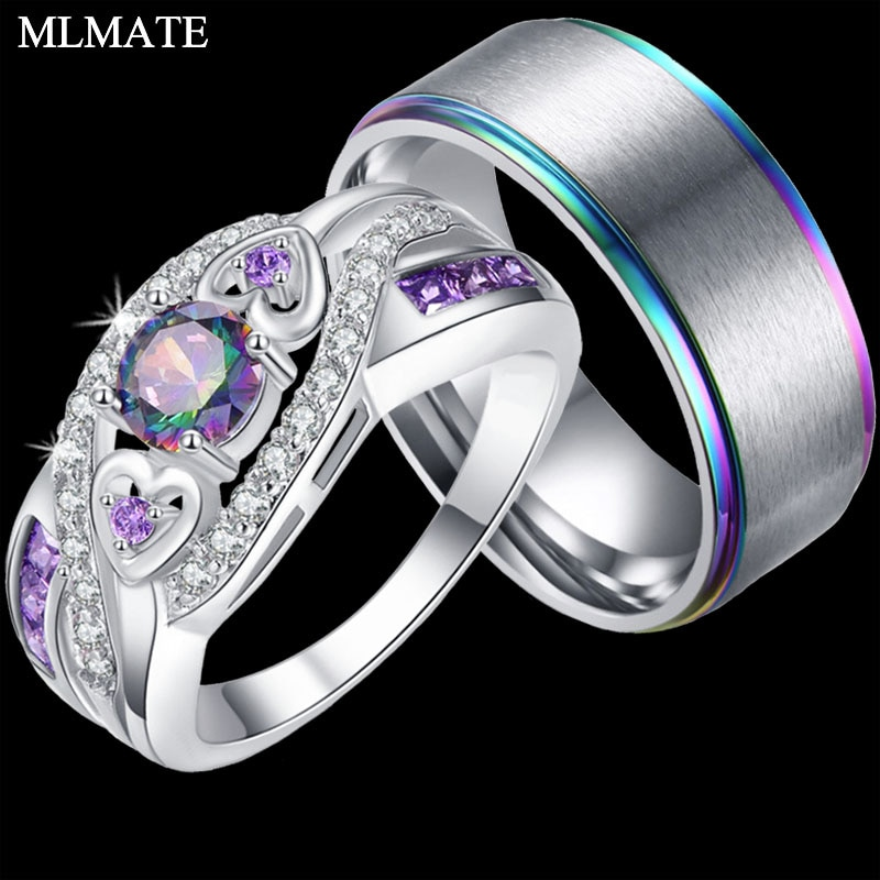 Recién llegado Oval corazón corte diseño Multicolor y púrpura blanco CZ anillo de plata moda mujeres y hombres pareja joyería regalo