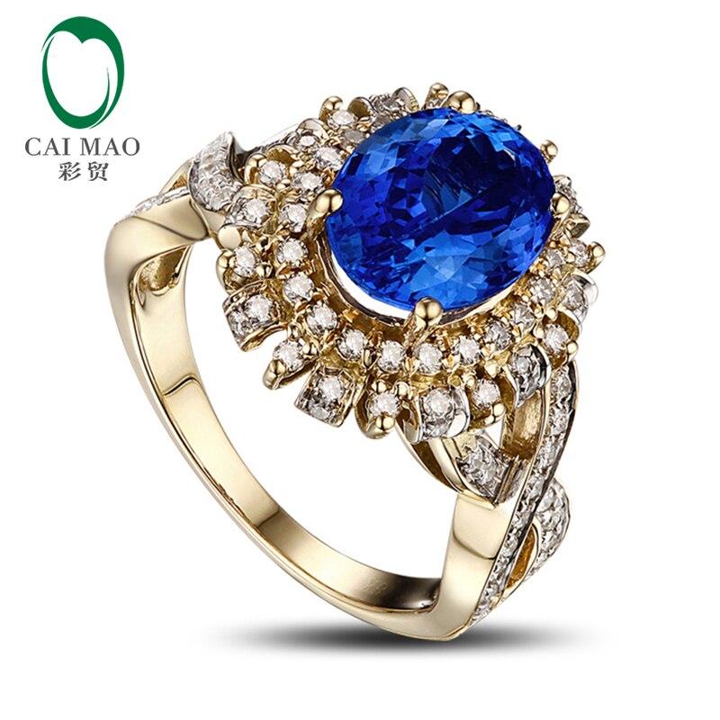 1.98ct 7x9mm Blue Tanzanite 0.59ct H SI Diamond Engagement Ring 14k Yellow Gold
