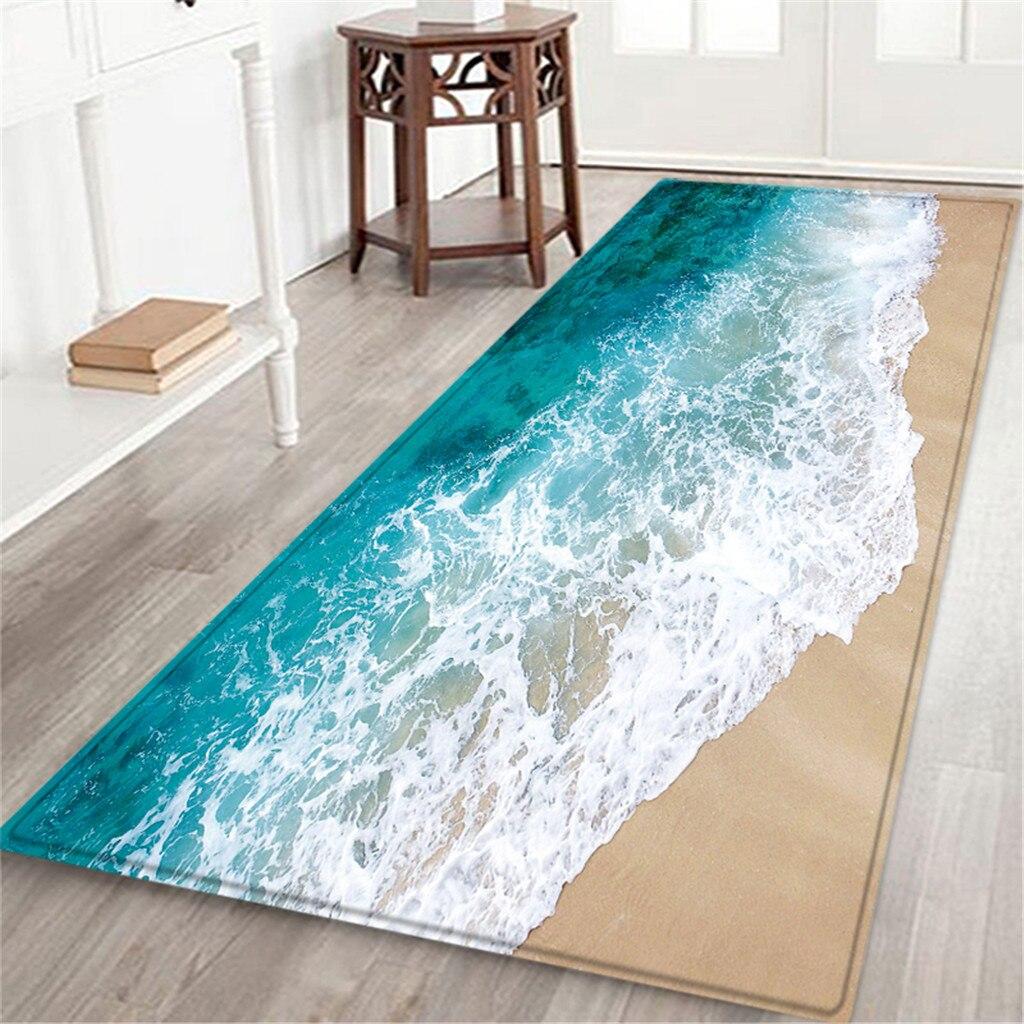Alfombra de baño de 60x180 CM con estampado de paisaje marino, felpudo antideslizante para pasillo, tapete de cocina absorbente de agua, alfombras de baño