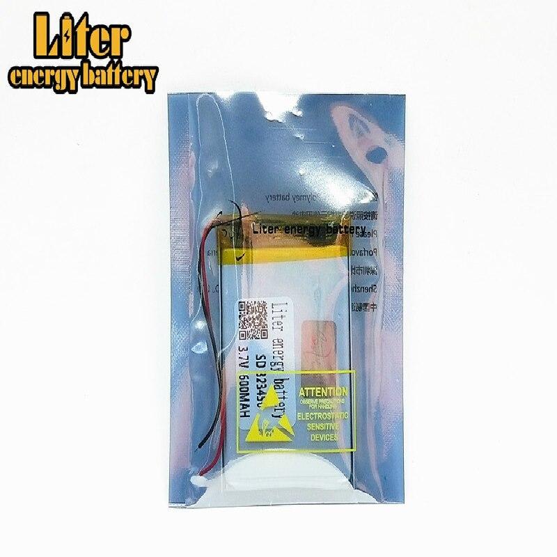 Batería recargable eBook 323450 600mah li-po batería de polímero de litio 3,7 v para GPS MP3 MP4 MP5 DVD grabadora de conducción de juguete