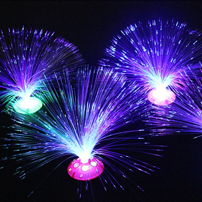5 قطعة الإبداعية تغيير لون LED الألياف البصرية زهرة مصباح صغير عطلة شمعة المنزل غرفة الزفاف حزب الديكور