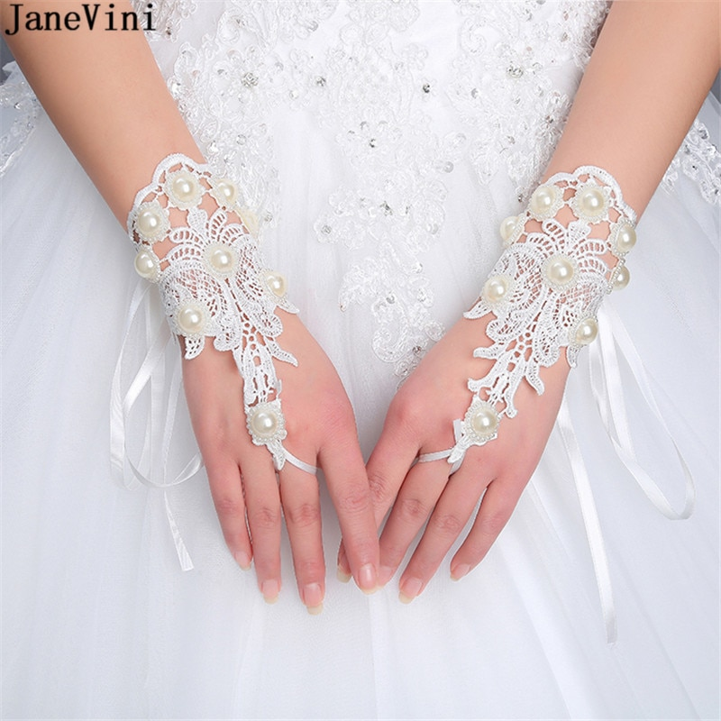 JaneVini Fashion Short White Wedding Gloves Wrist Length Lace Appliques Pearls Fingerless Bridal Accessories