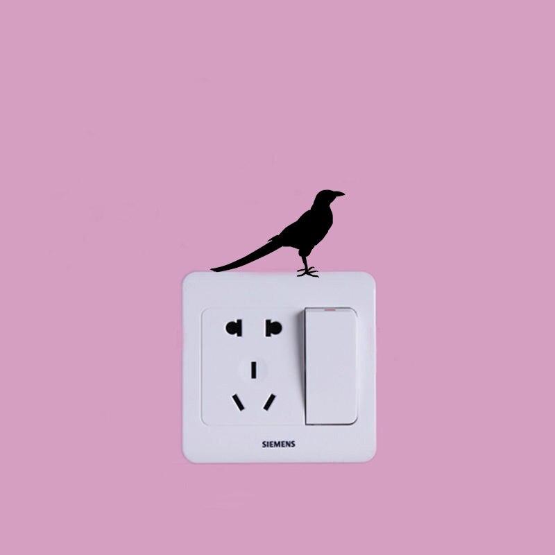 Виниловый стикер для переключателя из мультфильма Magpie Crow забавные съемные наклейки для украшения дома для детских комнат 2WS0491