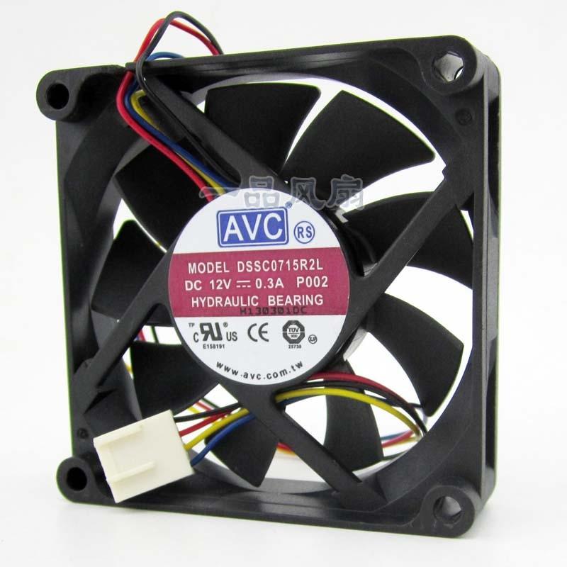 Бесплатная доставка Для AVC DSSC0715R2L DC 12 В 0.3A 4-проводной 4-контактный разъем 100 мм 70x70x15 мм сервер квадратный Вентилятор охлаждения