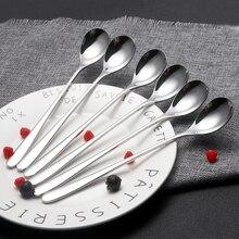 6 pièces/lot vaisselle barre crème glacée cuillère métal thé café manipulé longue cuillère en acier inoxydable cuillères à café en gros livraison directe
