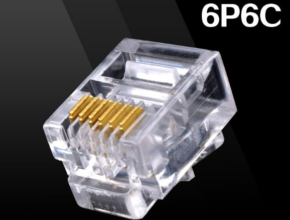 20PCS Durable 6 Pin RJ11 RJ-11 6P6C Modular Plug Telephone Phone Connector and NC Crystal Head