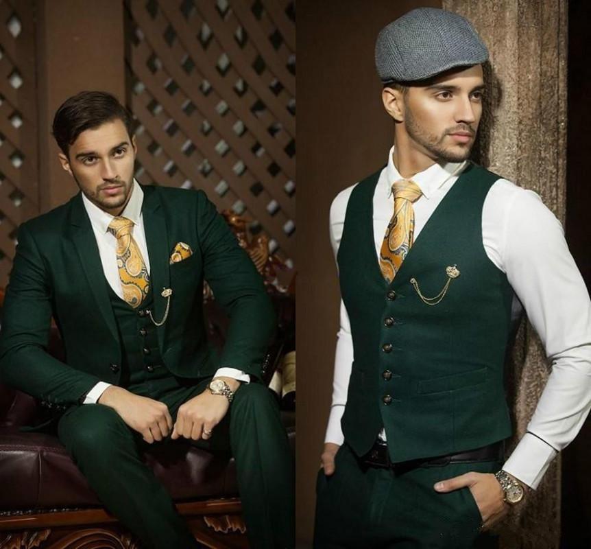 Esmoquin verde de cazador oscuro para novio, trajes de boda para hombre, solapa de muesca, Blazer para hombre, traje para fiesta de graduación, traje de negocios (chaqueta + Pantalones + chaleco)