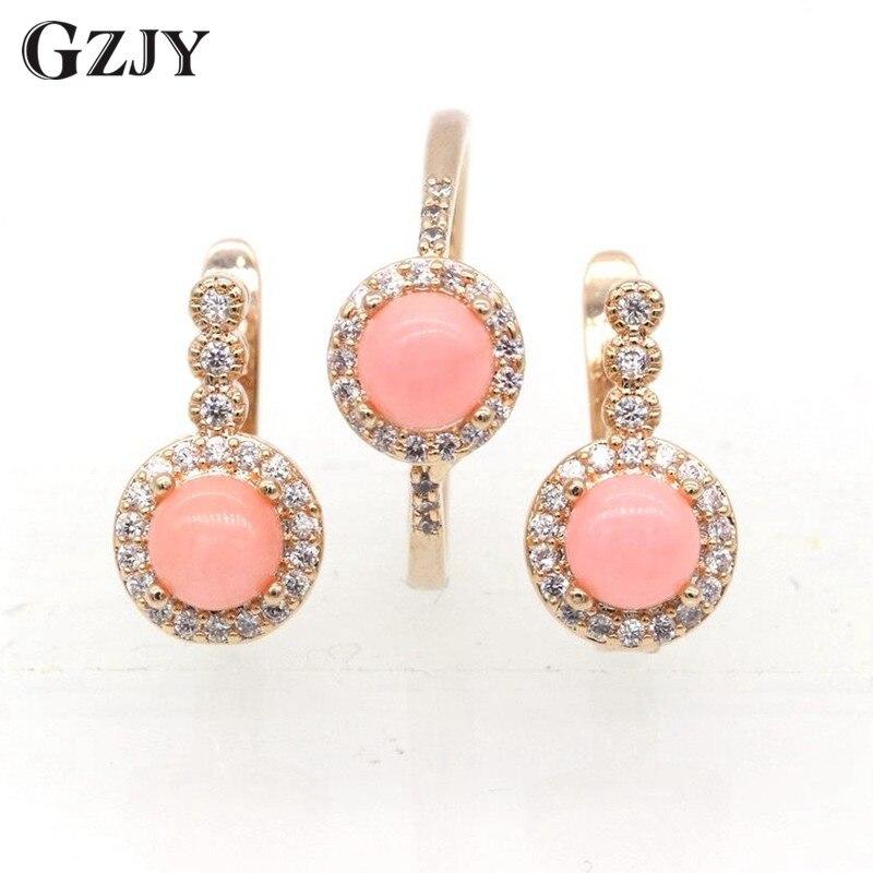 GZJY Moda Charme Rosa Coral AAA Zircão Conjunto Brincos Anel Para As Mulheres da Festa de Casamento da Cor do Ouro Jóias I03-2