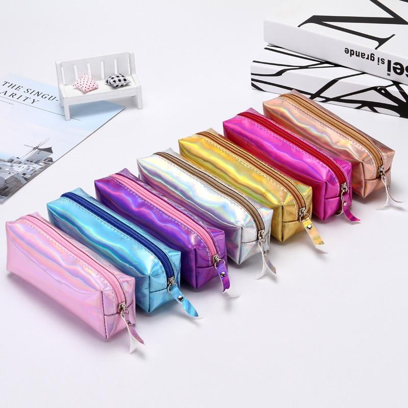 Iridescent pencil case Kawaii estuche escolar cute pencilcase PU school supplies kalem kutusu pencil box trousse scolaire