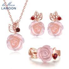LAMOON Blume Rose Sterling Silber 925 Schmuck Sets Rose Quarz Edelsteine 18K Rose Gold Überzogen Feine Schmuck silber set v033-1