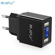 RAXFLY 5V/2.4A USB зарядное устройство с двумя портами для Samsung Note 8 S8 светодиодный дисплей 2a Быстрая зарядка для мобильного телефона для iPhone X 8