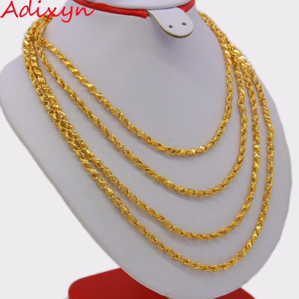 Adixyn-عقد سلسلة إثيوبية للنساء والرجال ، طول 200 سنتيمتر 4 مللي متر ، لون ذهبي أفريقي ، دبي/عربي N0254