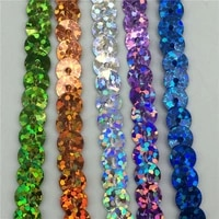 10yardlot 6mm loose round flat sequins laser giltter paillettes sequins for crafts sewing on cloth accessory sequin trim