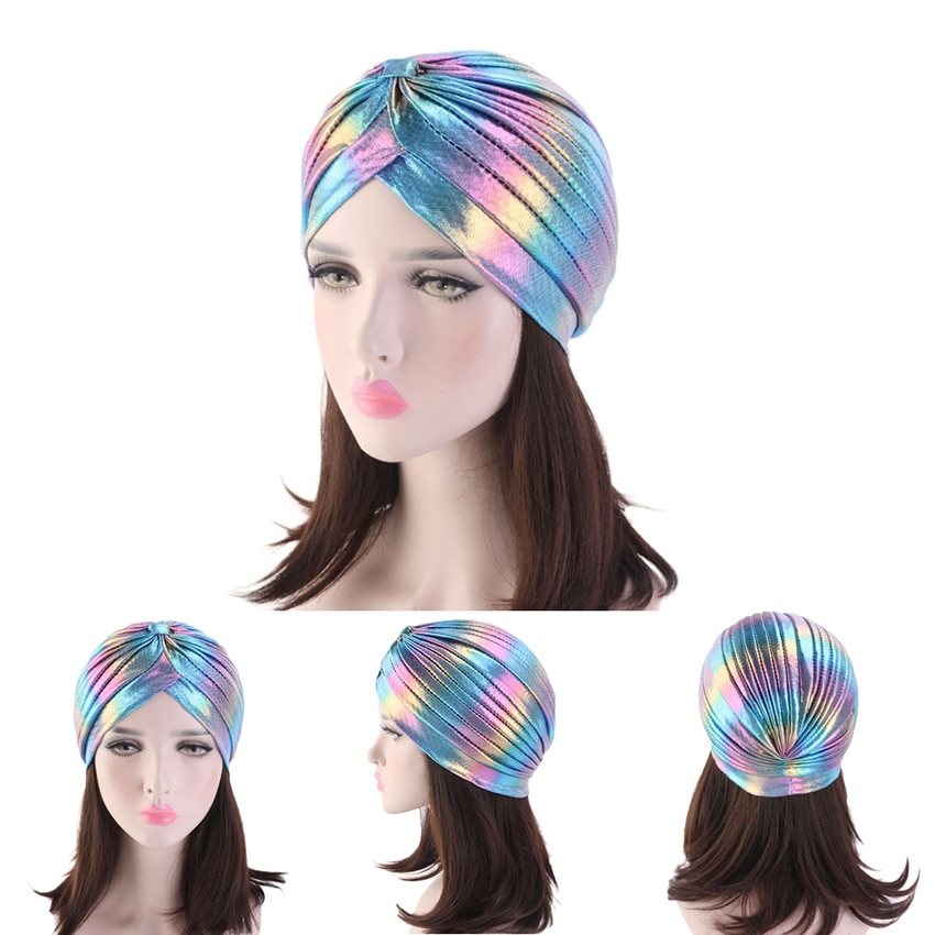 Turbante metálico para mujer, accesorios para envolver el pelo, turbantes brillantes de arco iris para mujer, gorro, gorra 2019