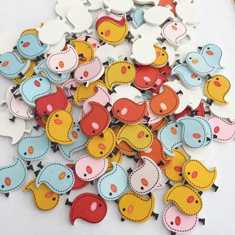 50 Uds de madera de dibujos animados Holeless del Panel plano pájaro pintura botón Botón de madera accesorios de prendas de vestir