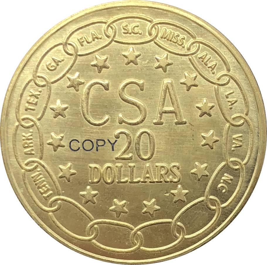 CSA 1861 Confederado 20 Vinte Dólares Dos Estados Unidos Da América Moedas Cópia Moeda de Ouro de Metal de Bronze