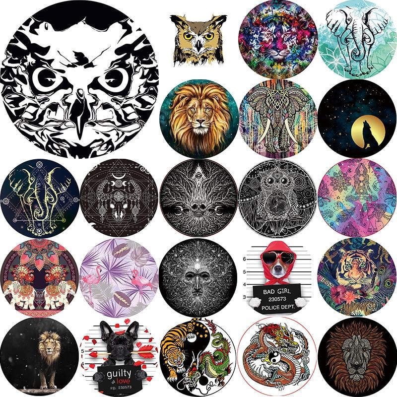 Hot sale boho style owl tiger elephants lion skull wolf dogs pattern women summer vacation round beach towel  size 1500*1500mm