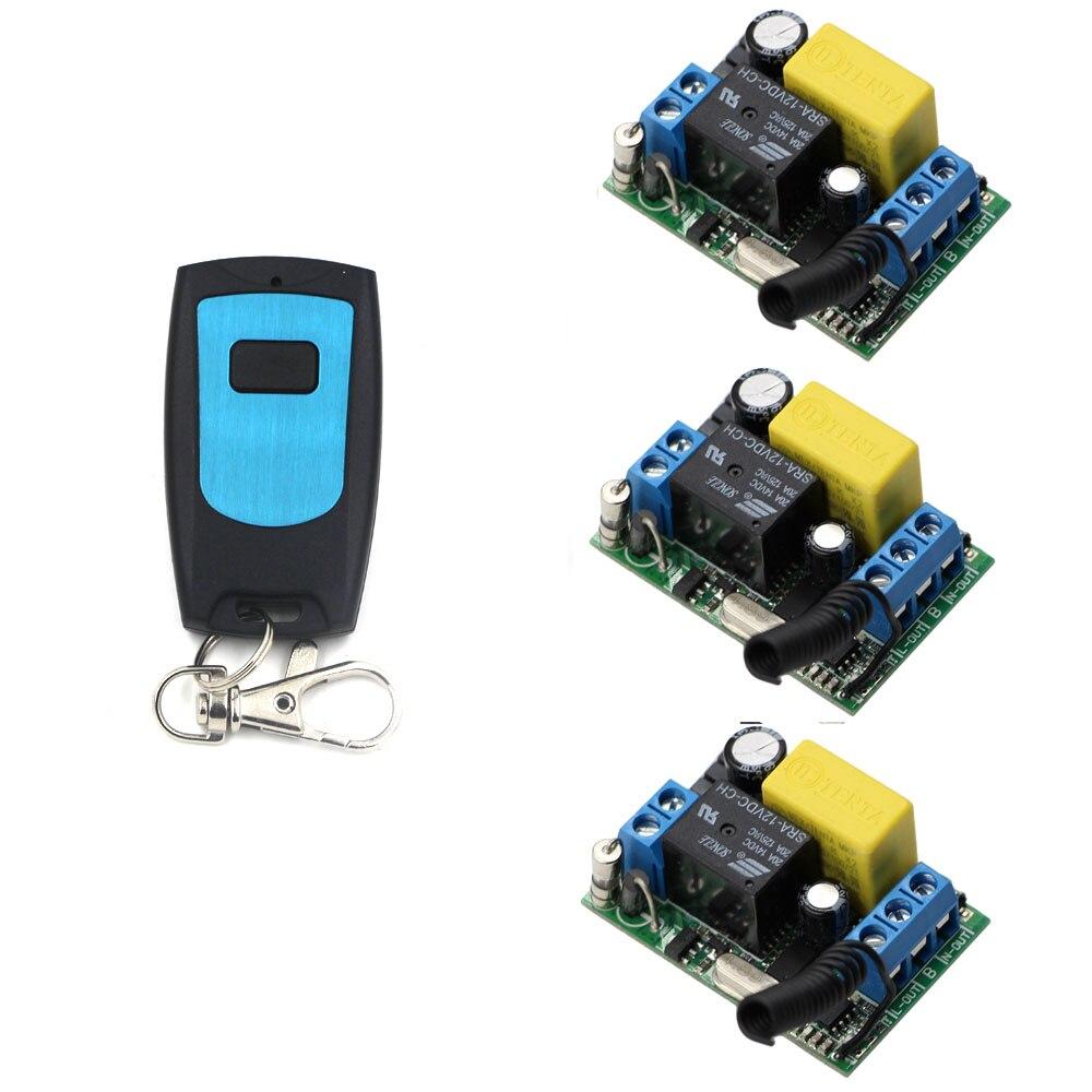 AC 220 V 1CH 3 * receptor y transmisor RF Interruptor de Control remoto inalámbrico Interruptor 10A lámpara de luz LED 315 /433 Mhz