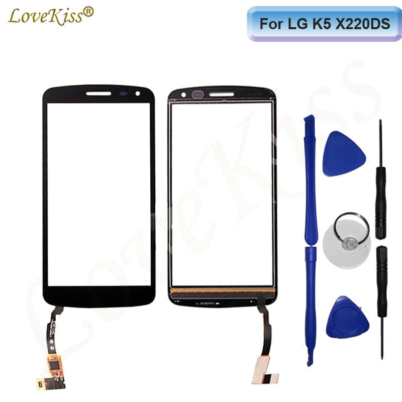 Para LG K5 pantalla táctil digitalizador para LG K5 X220 X220DS X220MB pantalla táctil Sensor K5 pantalla LCD Panel frontal de vidrio reemplazo